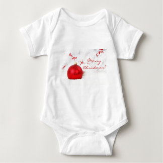 Christmas Red And White Merry Christmas Baby Bodysuit