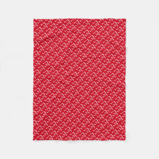 Christmas red and white music notes fleece blanket