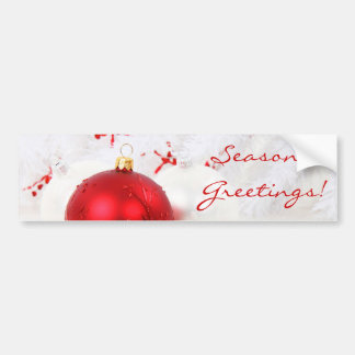Christmas Red And White Seaon's Greetings Car Bumper Sticker
