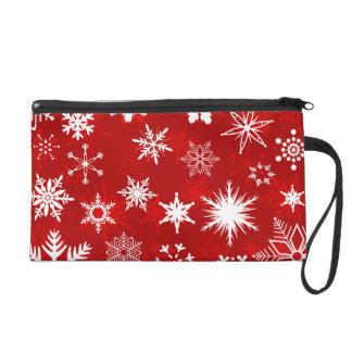 Christmas red and white snowflake design wristlet purse