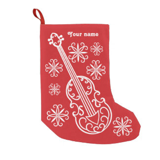 Christmas red and white violin design personalized small christmas stocking