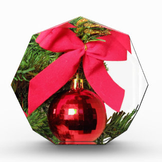 Christmas red bow and ornament acrylic award