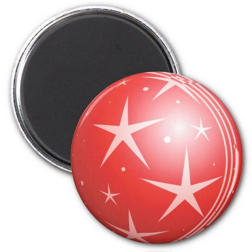 Christmas Red Bubble Stars & Sparkles Refrigerator Magnets