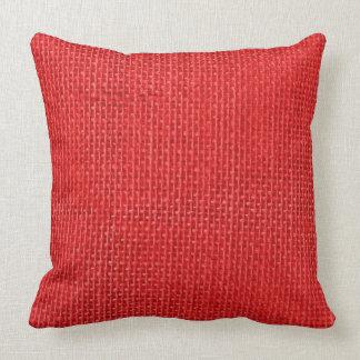Christmas Red Burlap Throw Pillow