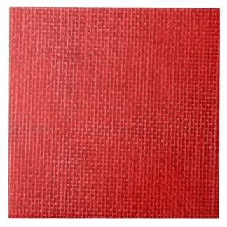Christmas Red Burlap Ceramic Tile