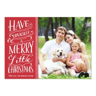 Christmas Red Calligraphy 1 Photo 5x7 Paper Invitation Card