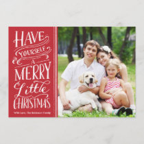Christmas Red Calligraphy 1 Photo Holiday Card