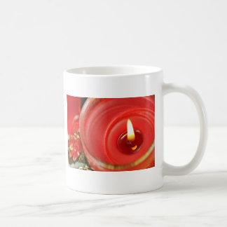 Christmas red candle design classic white coffee mug