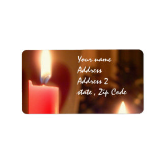 Christmas Red candles Personalized Address Label