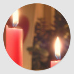 Christmas Red candles Round Sticker