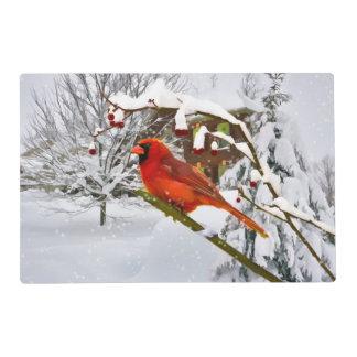 Christmas, Red Cardinal Bird and Snow Placemat