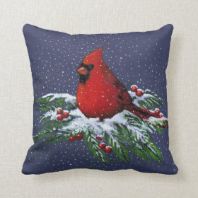 Christmas: Red Cardinal: Snowy Pine Branches: Art Throw Pillows