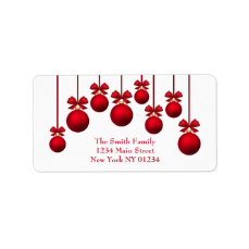 Christmas Red Christmas Balls with Ribbon Label