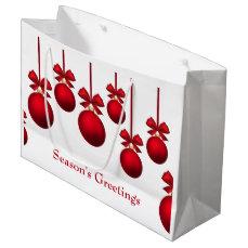 Christmas Red Christmas Balls with Ribbon Large Gift Bag