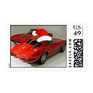 Christmas Red Corvette Classic Split Window Stamps