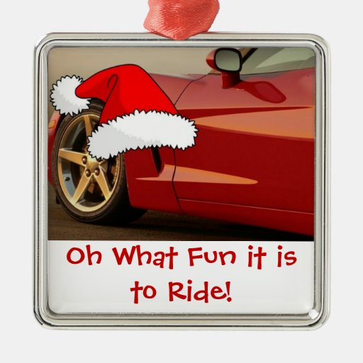 Christmas red corvette gifts metal ornament zazzle