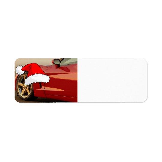 Christmas Red Corvette Label