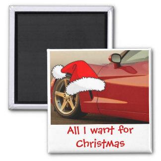 Christmas Red Corvette Magnet