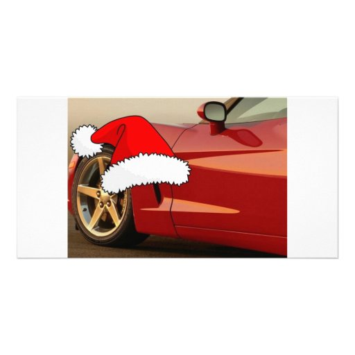 Christmas Red Corvette Personalized Photo Card