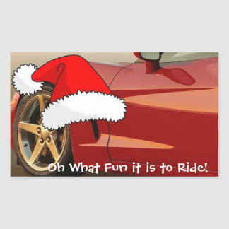 Christmas Red Corvette Rectangle Stickers