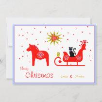 christmas red dala horse sleigh cats holiday card