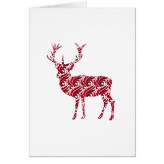 Christmas Red Damask Deer Cards