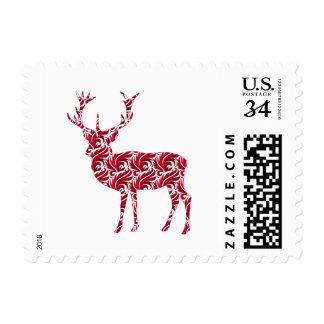 Christmas Red Damask Deer Postage