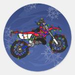 Christmas Red Dirt Bike Classic Round Sticker