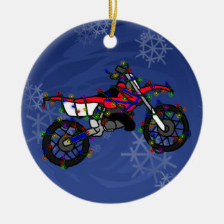 Christmas Red Dirt Bike Ornament