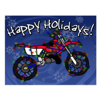 Christmas Red Dirt Bike Postcard
