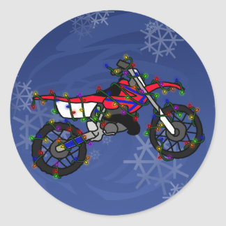 Christmas Red Dirt Bike Round Stickers