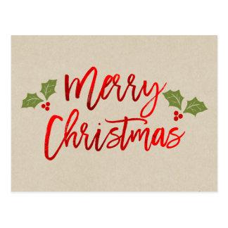 Christmas Red Foil Modern Script Holiday Kraft Postcard