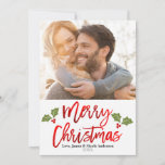 """Christmas Red Foil Modern Script Holiday Photo<br><div class=""""desc"""">Customize with your own photo</div>"""