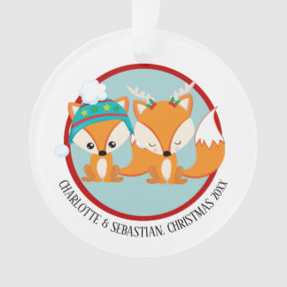 Christmas Red Fox Personalized Photo Ornament