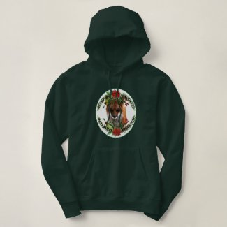 Christmas Red Fox with Poinsettia Wreath Hoodie