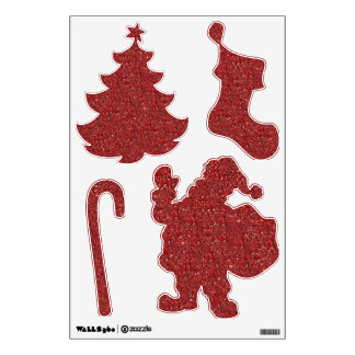 Christmas Red Glitter Wall Decal