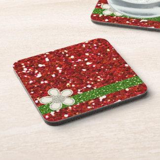 Christmas Red Glitters Cork Coaster