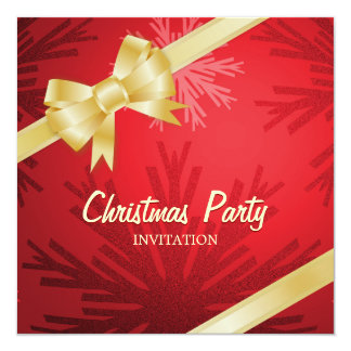 "Christmas Red Golden Bow party invitation 5.25"" Square Invitation Card"