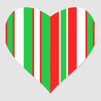 Christmas Red, Green and White stripes pattern Heart Sticker