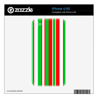 Christmas Red, Green and White stripes pattern iPhone 4 Skin