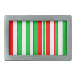 Christmas Red, Green and White stripes pattern Rectangular Belt Buckle
