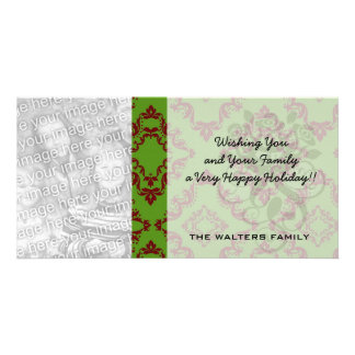 christmas red green diamond damask picture card