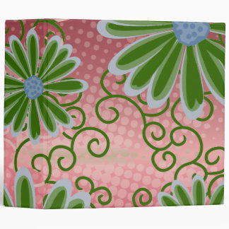 Christmas Red Green Floral Tribal Daisy Pattern Vinyl Binders
