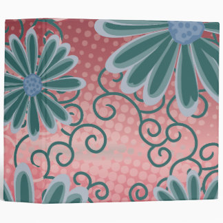 Christmas Red Green Floral Tribal Daisy Pattern Binder