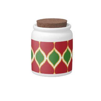 Christmas Red Green Geo Ikat Tribal Print Pattern Candy Jars