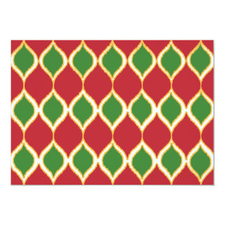 Christmas Red Green Geo Ikat Tribal Print Pattern Card