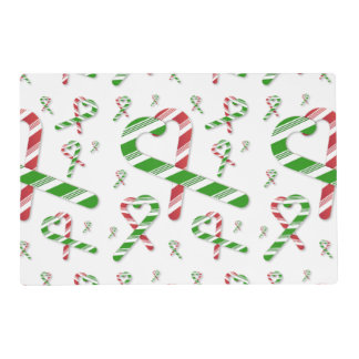 Christmas Red & Green Heart Candy Cane Placemat