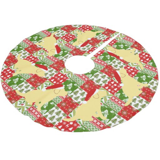 Christmas Red Green Quilt Yellow Labrador Puppies Brushed Polyester Tree Skirt