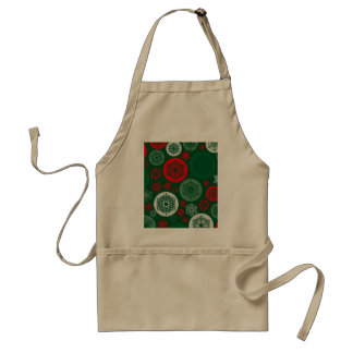 Christmas Red & Green Snowflakes Ornaments Pattern Adult Apron