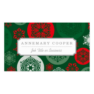 Christmas Red & Green Snowflakes Ornaments Pattern Business Card